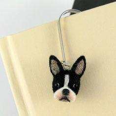 Boston Terrier Needle Felted Dog Bookmark CYBER MONDAY by KaysK9s