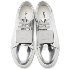 Acne Studios Silver Metallic Leather Adriana Sneakers ($430) ❤ liked on Polyvore featuring shoes, sneakers, low top, lace up sneakers, low profile sneakers, metallic shoes and leather shoes