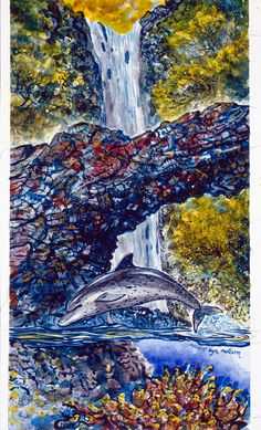 ROBERT LYN NELSON  Watercolor on Arches 10x24 -Near The Falls-  endangered species series  Selected Works 1992  @robertlynnelson.com  DOLPHIN Nature Fineart