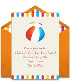 Customizable, free Beach Ball online invitations. Easy to personalize and send for a party. #punchbowl