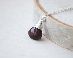 Solitaire Garnet Necklace in Sterling Silver or 14K Gold Fill - January Birthstone Necklace - January Necklace by SongYeeDesigns on Etsy https://www.etsy.com/listing/189213702/solitaire-garnet-necklace-in-sterling