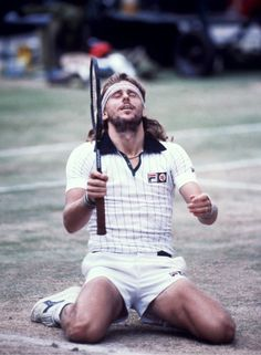 The thing is that Borg started to fall to his knees before anyone did it. It was genuine. It was out of pure joy and exhaustion. There wasn't a ESPN and 24/7 following of sports. He didn't do it for the cameras. It was spontaneous. Borg was all class on the court.