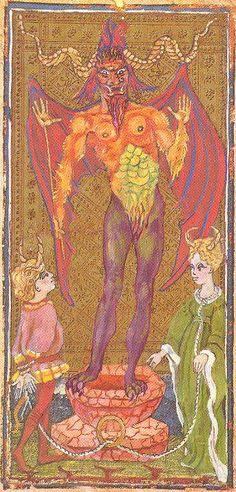 XV. The Devil- The Visconti-Sforza Tarot