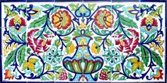 Centerpiece Rooster Design - Antique Looking Kitchen Backsplash Hand Painted Ceramic Tiles Mosaic Decorative Wall Mural Painting Ceramic Tiles, Ceramic Mosaic Tile, Mosaic Wall, Ceramic Art, Islamic Tiles, Photo Frame Design, Tile Murals, Wall Mural, Tile Stores