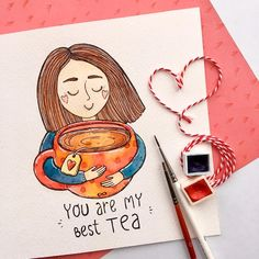 ☕️YOU are my BEST tea☕️ For my good friend and awesome illustrator Nadya ♥️Happy B-day🎂🎈 Watercolor Art Paintings, Watercolor Drawing, Fabric Painting, Watercolor Illustration, Painting Trees, Oil Paintings, Art Drawings Beautiful, Art Drawings For Kids, Cute Drawings