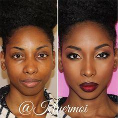 Make-up für schwarze Frauen - Wedding Makeup Dramatic Black Girl Makeup, Girls Makeup, Dark Skin Makeup, Face Makeup, Contour Makeup, Everyday Eye Makeup, Beauty Routine Checklist, Wedding Makeup For Brown Eyes, Makeup Before And After