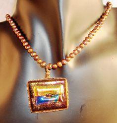 Kiln Fused dichroic glass pendant