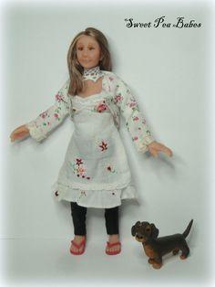 ♥ OOAK Miniature 1:12th scale Modern Lady & Wiener Puppy Doll Dollshouse   ♥♥