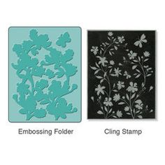 Sizzix - Stamp and Emboss - Hero Arts - Embossing Folder and Repositionable Rubber Stamp - Silhouette Vines Set