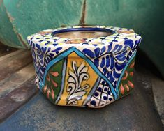 Vintage Mexican Talavera Ceramic Toothbrush Holder Blue Yellow White Bathroom Decor
