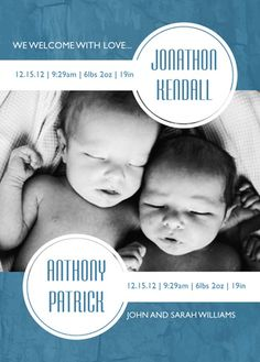 Baby Suede Twin Birth Announcements