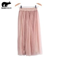Beautiful Casual High Waist Pleated Mesh Skirt 7 Colors