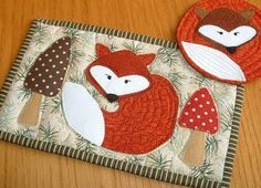Fox Mug Rug and Coaster.  Red fox, brown fox, paisley fox, gingham fox - this pattern is so quick you can try them all!