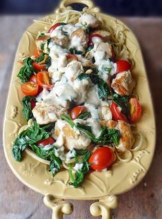 Chicken Florentine Pasta Recipe | by Life Tastes Good is chicken, spinach, tomatoes on a bed of linguine topped with a deliciously cheesy Mornay sauce! #Italian #Pasta #Sauce
