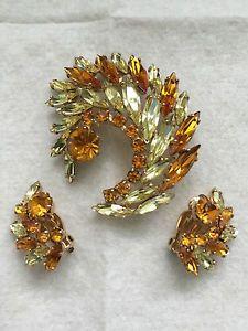 Vintage SHERMAN Signed Rhinestone Brooch Earrings Set
