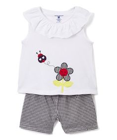 Another great find on #zulily! White Appliqué Yoke Tank & Shorts - Infant, Toddler & Girls #zulilyfinds