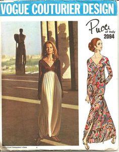 1960s Harem Pants Pajamas Deep V neckline Evening by kinseysue