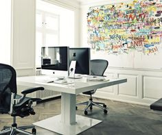 Home office with graffiti wall covering