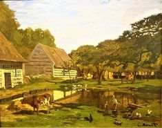 Farmyard in Normandy By Claude Monet, Oil Painting Claude Monet, Monet Water Lilies, Farm Yard, Worlds Of Fun, Impressionist, Landscape Paintings, Art Photography, Art Prints, Renoir