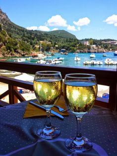 Corfu island, view from the Alipa restaurant in the beach of the small port of Paleokastritsa