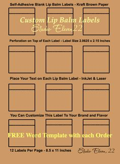 2 125 x 1 6875 label template - x lip balm labels with no seal for tubes