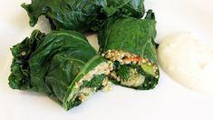 Kale and Quinoa Dolmades with Yogurt Dipping Sauce  by Maria Benardis.