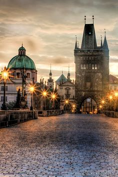 Dusk, Glowing Charles Bridge, Prague Czech Republic
