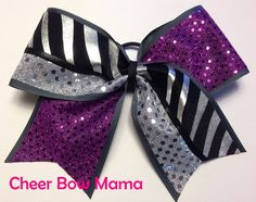 Purple and Silver Zebra Cheer Bow by Cheer Bow Mama