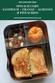 Spinach Corn Sandwich + Orange + Almonds & Pistachios - This grilled Spinach Corn sandwich is very popular in cafe coffee day in India and a healthy school lunch box option. Breakfast And Brunch, Healthy Lunches For Kids, Kids Meals, Healthy Breakfasts, Healthy Snacks, Corn Sandwich, Cafe Coffee Day, Vegetarian Kids, Lunch Box Recipes