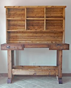 """Console table for """"entryway"""" underneath thermostat. Thinking to do without hutch, and to reclaim boards from the IKEA storage system that we hate Mager Mager Lopez Diy Wood Projects, Home Projects, Woodworking Projects, Woodworking Plans, Diy Furniture Plans, Furniture Projects, Building A Workbench, Ikea Storage, Wood And Metal"""