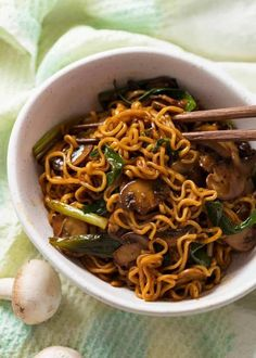 Meet your new favourite ramen noodle recipe - caramelised Asian Mushroom Ramen Noodles! Caramelised mushrooms tossed with a simple Asian sauce and ramen noodles. Asian Noodle Recipes, Ramen Recipes, Asian Recipes, Vegetarian Recipes, Cooking Recipes, Healthy Recipes, Healthy Food, Chinese Recipes, Cheap Recipes