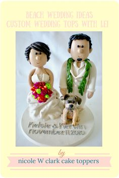 Beach weddings. Getting married somewhere tropical. Linen suits and LEIS come in handy. And little puppy can be included too! Handmade cake toppers by www.nicolewclark.com. I love making cake toppers, if you have any questions, contact me, Nicole W Clark! #beachweddingtopper #tropicalwedding #puppycaketopper