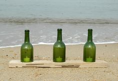 Driftwood with 3 Wine Bottle Hurricanes and Tea by KaiHinaCoastal, $25.00