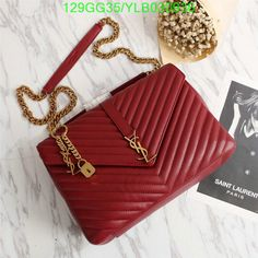 Saint Laurent Large Classic College Bag In Matelasse Leather Red Outlet Yves Saint Laurent Cheap Sale Store Fendi, Gucci, Ysl Handbags, Burberry Handbags, Ysl Bag, Chanel Boy Bag, Dior, College Bags, Ysl College