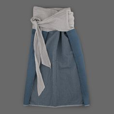 Toujours Khadi Cloth Thai Style Combination Midi Skirt in Blue Angle2