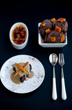 The Lady Grey Trio --   Earl Grey Dark Choc Ice Cream. Orange Creme Brulee & Chocolate Orbit Cake  w/ white choc Lady Grey creme anglaise