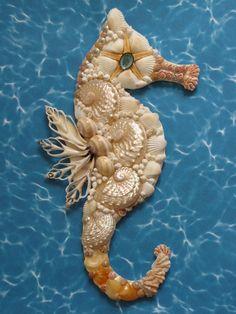 Seahorse Wall Decor - Seahorse Shell Art - Beach Decor - Coastal Decor…