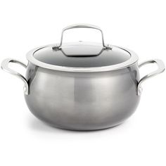 Belgique 3-Qt. Soup Pot with Lid, Created for Macy's ($25) ❤ liked on Polyvore featuring home, kitchen & dining, cookware, no color, belgique cookware, belgique, aluminium cookware, aluminum stock pot and aluminum cookware