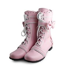 Handmade Pink PU Leather Flat Sweet Lolita Boots – USD $ 99.99