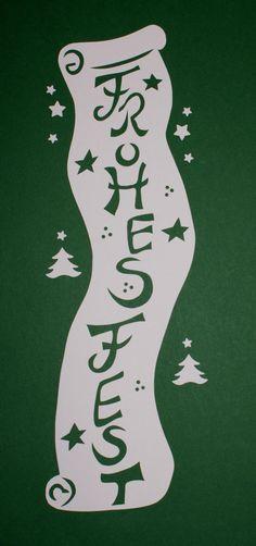 Fensterbild,Schriftrolle FROHES Fest,Tonkarton,filigranes,Winter,Weihnachten