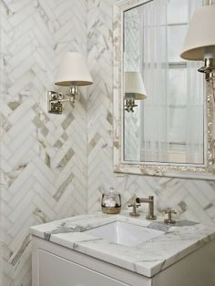 Classic marble herringbone pattern for a bathroom wall