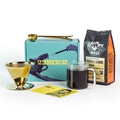 This Box Rocks Coffee Gift Set with Titanium-Plated Pour Over Coffee Filter, Spoon-Clip & Bag of Ground Coffee in a Charismatic Gift Box Pour Over Coffee Filter, Coffee Filters, Coffee Gift Sets, Coffee Gifts, Ground Coffee, French Press, Gourmet Recipes, Spoon, Brewing