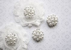 2 Large Rhinestone And Pearl flatback Button by MsSarasTreasures, $3.39