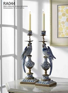 Pieces) Porcelain Candlesticks with Gilded Dior Ormolu Trim--westmenlights Porcelain Jewelry, China Porcelain, Porcelain Doll, Porcelain Sink, Chandeliers, Blue And White China, Candlesticks, Decoration, Chinoiserie