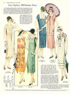 1925 Summer Afternoon Dresses. Still tube or tunic shapes but shorter with low layers, lace ruffles and pleats on flower and polka dot prints.
