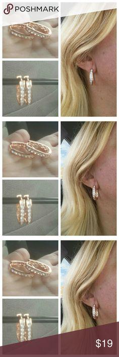 NEW Rose Gold CZ Sparkling Hoop Earrings NEW Rose Gold CZ Sparkling Hoop Earrings Jewelry Earrings