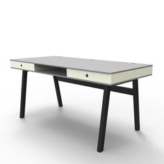 Gray Cover Story, Classy yet functional, this table has a unique edge. With a hidden compartment in the back it appears tidy and clean, while all the cables and cords fit inside