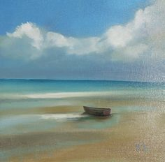 Martha Spak Seascape painting in oil of dory at seaside - $395.