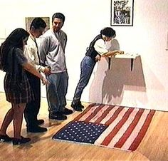 """Dread"" Scott Tyler, What Is the Proper Way to Display a U. Installation at the School of the Art Institute of Chicago, later included in the traveling exhibition, ""Old Glory: The American Flag in Contemporary Art. Art Installations, Installation Art, Anerican Flag, Sidney Street, James Meredith, Civil Rights Leaders, Jasper Johns, Flag Art, Old Glory"