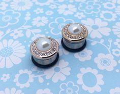 "Pearl Rhinestone Crystal Wedding Gold / Plugs Gauges Stretchers Studs/ Stretched Gauged Ears / 0g 00g 7/16"" 1/2"" 9/16"" 5/8"" (8mm-16mm)"